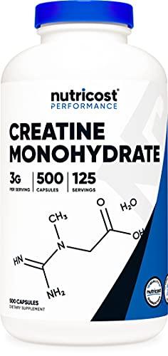 Nutricost Creatine Monohydrate 3,000mg (750mg Per Capsule) 500 Capsules, 125 Servings