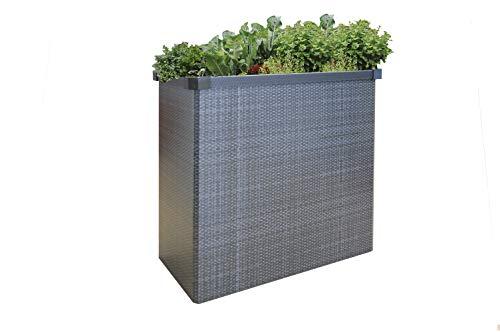 Juwel Balkon- und Terassen-Hochbeet Easy Garden (Rattan grau, Faltbeet schnell aufgebaut, Pflanzenbeet faltbar, großen Füllvolumen, schneckensicher) 20090