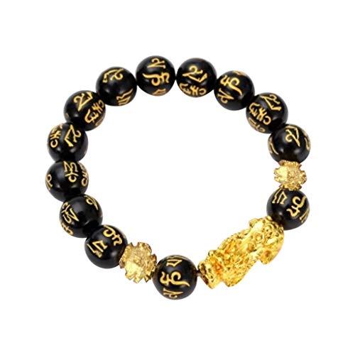 Pulsera de cuentas negras para mujer y hombre, atrae la riqueza, buena suerte, joyería budista, regalo