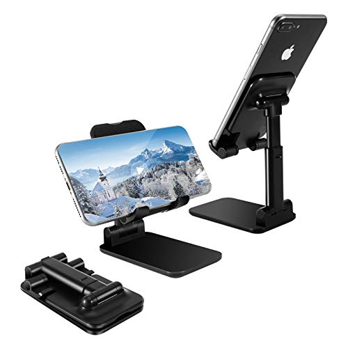 OPKALL Cell Phone Stand, iPhone Stand Angle Height Adjustable Cell Phone Stand for Desk Compatible with All Mobile Phones, iPhone, iPad, Tablet (Black)