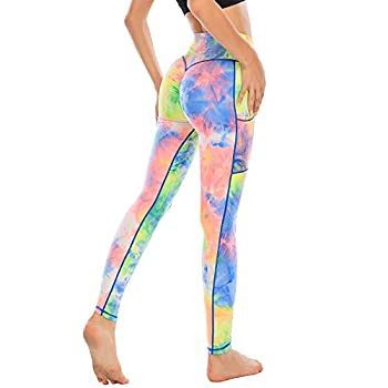 FITTOO Womens High Waist Tie Dye Print Booty Scrunch Leggings Ruched Yoga Pants Side Pockets Tights Rainbow M