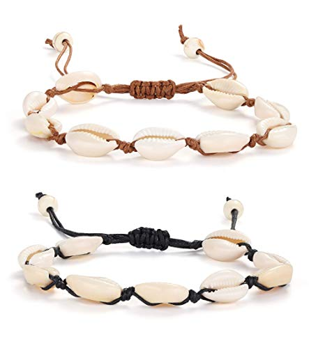 Adramata 2 Pcs Shell Fußkettchen Armband für Frauen Unisex handgemachte Strand Fuß Kauri Perlen Schmuck einstellbar