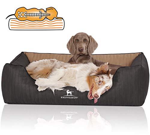 Knuffelwuff Orthopädisches Hundebett XXL Hundekorb Hundekissen Hundekörbchen aus Kunstleder Outback 120 x 85cm Schwarz/Cappuccino