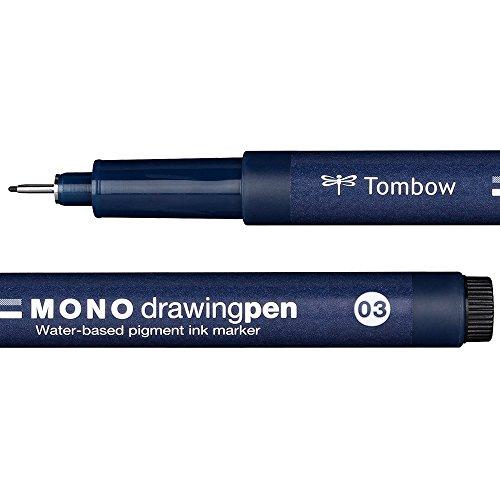 Tombow WS-EFL03 Fineliner MONO drawing pen Strichstärke 03, schwarz