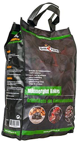 Grillfürst Männerglut Kokos - 10 kg Grillbriketts aus Kokosnuss-Schalen - für extra Lange Brenndauer