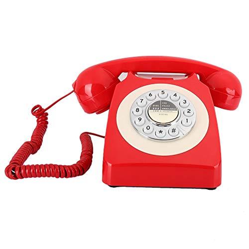 Limouyin Teléfono Antiguo Retro Vintage, teléfono de Escritorio con teléfono Fijo Manos Libres para Volver a marcar el Hotel, teléfono Vintage ABS Rojo con Funciones Anti-thunde Anti-emi