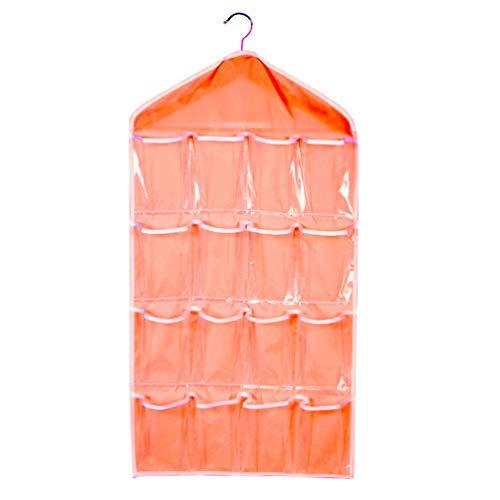 Große Kapazität 16 Gitter Garderobe hängen Organizer BH Socken Aufbewahrungstasche Orange