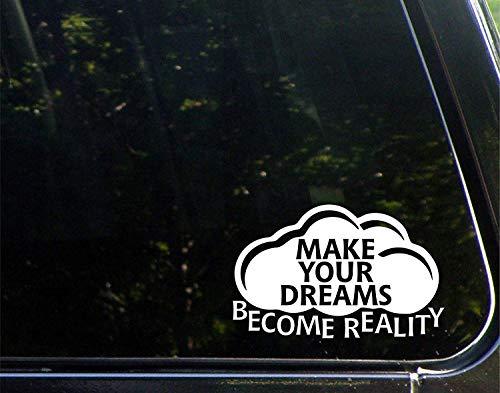 Grappige stickers voor motorfietsen maken uw dromen werkelijkheid raam auto Laptop Stickers voor volwassenen 23 cm
