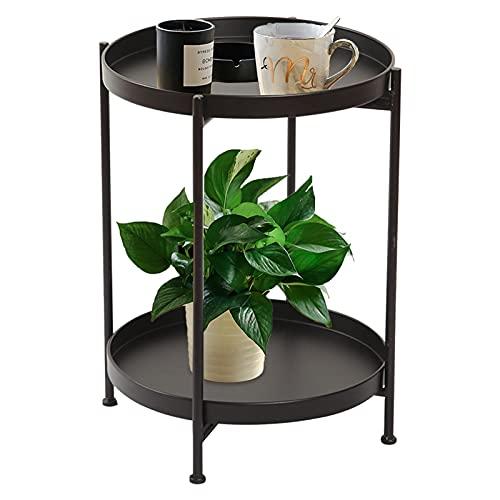 WLOWS Mesas auxiliares Redondas de Metal de 2 Niveles con Mesa Auxiliar Circular extraíble con Revestimiento antioxidante Apto para Mesa de sofá, Bandeja de café (15,75 x 20 Pulgadas),Negro