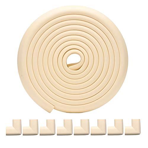 Te Fiti コーナー クッション 全長5m 8個 コーナー ガード 赤ちゃん けが防止 両面テープ 付き L型 (ベージュ)