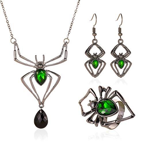 SZYZ Collar de araña exagerado Pendientes Anillo Retro Negro 3pcs / Set