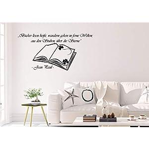 Wandtattoo/Wandsticker/Wandaufkleber ***Bücher lesen heißt, wandern gehen in ferne Welten – (Größen und Farbauswahl)
