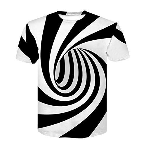 ShenyKan Europa y Estados Unidos Hot New Couple Camiseta de impresión Digital 3D Vortex Camiseta de Manga Corta