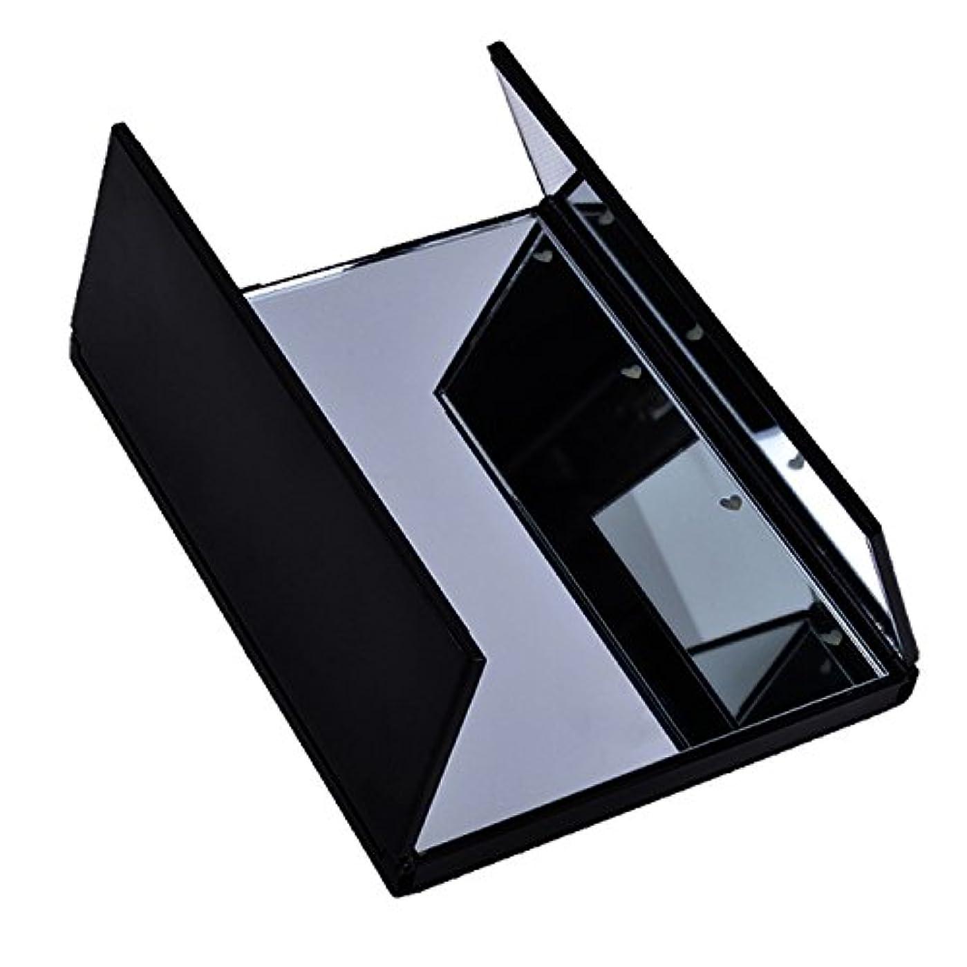 ボールライナーナインへled化粧鏡 卓上鏡 LED照明付き 卓上 持ち運び便利 折り畳み式 鏡 LED8個搭載 化粧鏡 LEDライト三面鏡 折りたたみ式 タッチパネル 三面鏡 ブラック ファション