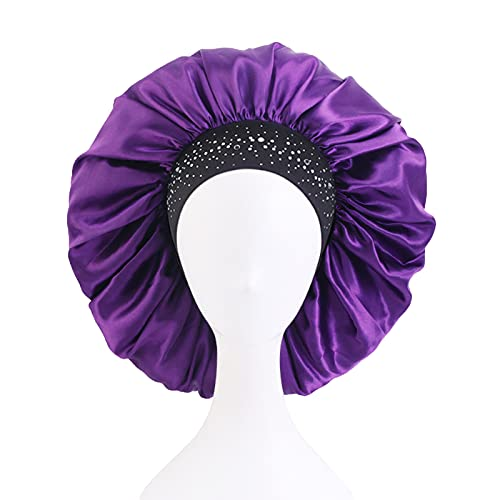 Rubuiz Satin Silk Bonnet Sleep Cap Extra Large Jumbo Day and Night Cap Hut Salon Bonnet Head Hair Covers Chemo Caps mit elastischem breitem Band für Schwarze Frauen Lange lockige...