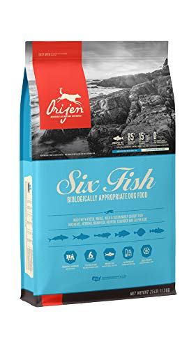 ORIJEN Dry Dog Food for All Breeds, Six Fish, Grain Free & Poultry Free, High Protein, Fresh & Raw Animal Ingredients, 25lb