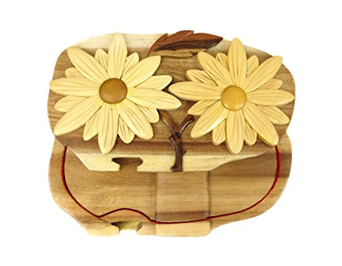 Daisy Mother's Day Flowers Hand-Carved Puzzle Box with No Paints! No Stains! Hidden Felt Lined Interior That hides Jewelry, Gift Cards, or Money. No Two Will Ever be Identical! Pet Carvers