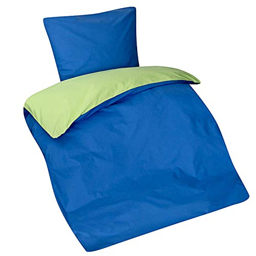 Aminata Kids Moderne Teenager Bettwäsche 135-x-200 cm, 80x80 cm aus Baumwolle mit Reißverschluss - Mädchen, Frauen & Jugendliche, Apfel-grün, Marine-blau - weich & kuschelig, kräftige Uni-Farben