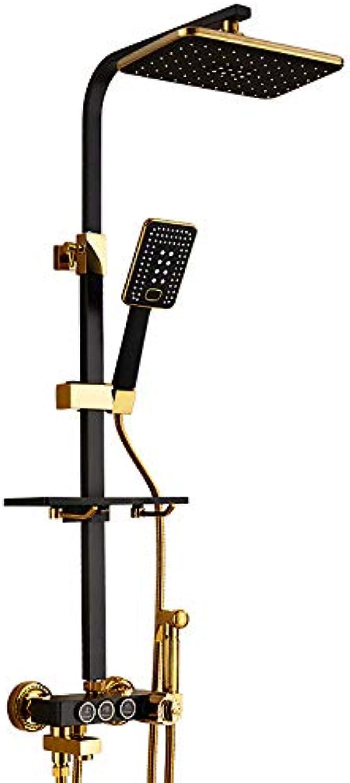 Europische Dusche Set Schwarz Vierkantrohr Thermostat Dusche Kupfer Wasserhahn Goldene Dusche Bidet Düse