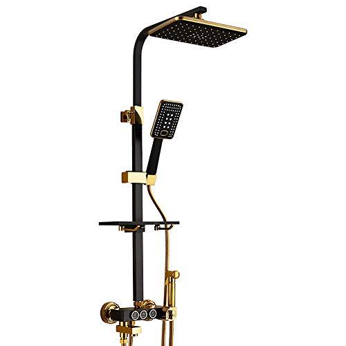 Shower set-Jack Juego de Ducha Europeo Tubo Cuadrado Negro Ducha termostática Grifo de Cobre Ducha de Oro del bidé