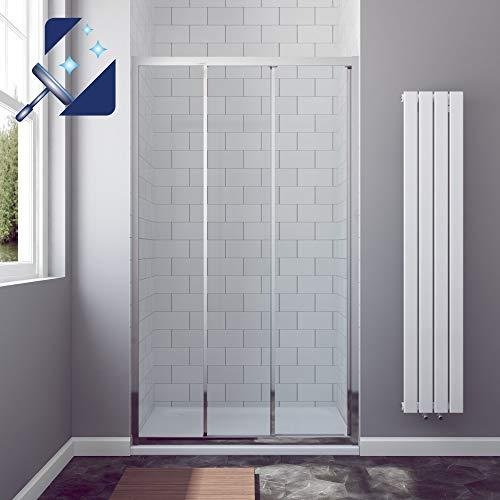 AQUABATOS® 120 cm breite 195 cm höhe Duschkabine Duschtür Nische Schiebetür Dusche mit zwei Schiebeelementen und Fixteil Duschwand Glas Duschabtrennung 6 mm Echtglas Sicherheitsglas Nanobeschiebetür