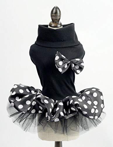 DULING Hunderock, Kleid Brautkleid, gepunktetes Haustierkleid, geeignet für kleine Hundewelpen, schwarz, L.