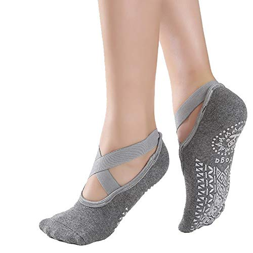 Thefne Set de 2 Pares de Calcetines Antiderrapantes para Mujer. Calcetines para Yoga, Pilates o Danza con Base Antideslizante. Calcetas Unitalla para todas las Superficies. Yoga...