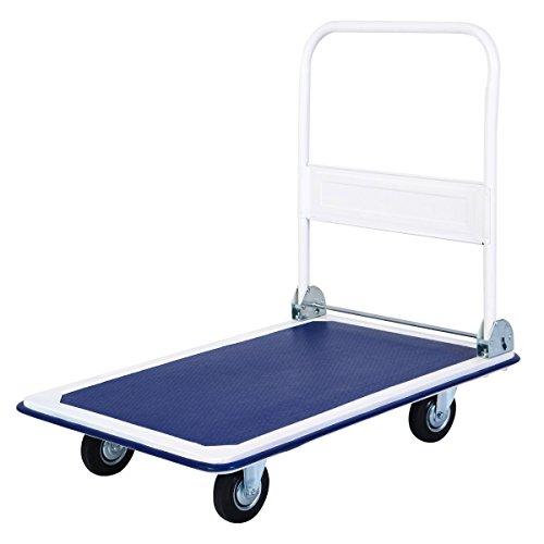 Giantex 5 660lbs Platform Cart Dolly Folding Foldable Moving Warehouse Push Hand Truck, Blue, 35.5inch x 24inch (Baseboard)