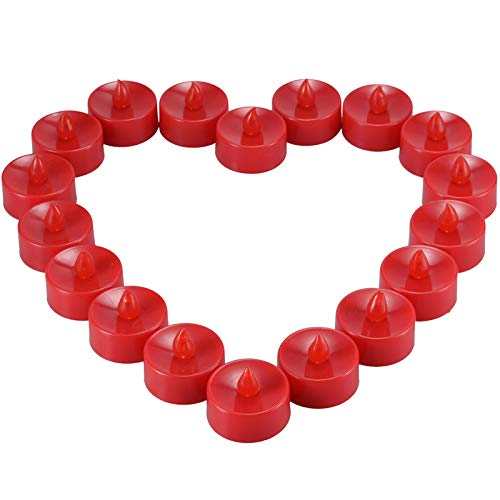 Ymenow Red Flameless Tea Lights, 18pcs Battery Operated LED Flickering Candle Votive Candles for Home Wedding Birthday Valentine's Day Festivals Party Decor - Amber Yellow