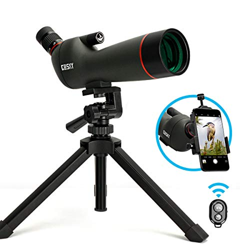 Gosky 20-60x60AE Spotting Scope with Tripod, Carrying Bag and Smartphone Adapter, 45-Degree Angled...