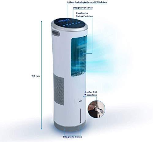 Livington InstaChill – Klimagerät mit Verdunstungskühlung – mobiles Klimagerät mit 3 Stufen – Klimagerät ohne Abluftschlauch 12h Kühlung mit 8,5 L Tank - 5