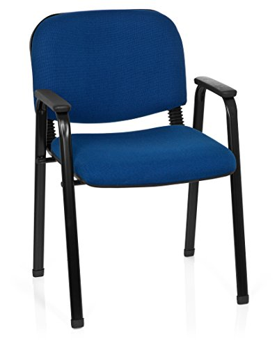 hjh OFFICE 704341, sedia da conferenza in tessuto XT 650, imbottita, con braccioli, impilabile, colore: blu