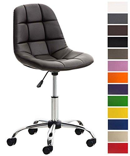 CLP Bürostuhl Emil mit Kunstlederbezug, Schreibtischstuhl mit gestepptem Sitz, höhenverstellbarer Arbeitsstuhl mit Metallgestell in Chromoptik, Drehstuhl, Braun