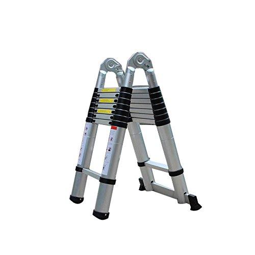 Jasemy - Escalera telescópica de aluminio de 5 m, multifunción, plegable, telescópica, extensible, 16 peldaños, multiusos