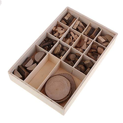 MagiDeal Una Caja de Madera Rústica Números de Tarjetero Rodajas de Tronco de árbol 0,8-6 Cm