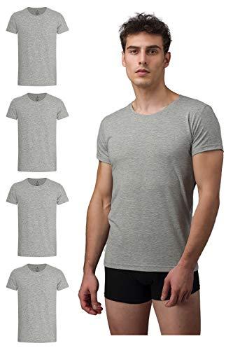 Burnell & Son Business Unterhemd mit Kurzarm und Rundhals für Herren aus atmungsaktiver Baumwolle Slim Fit 4er Pack Grau Größe M