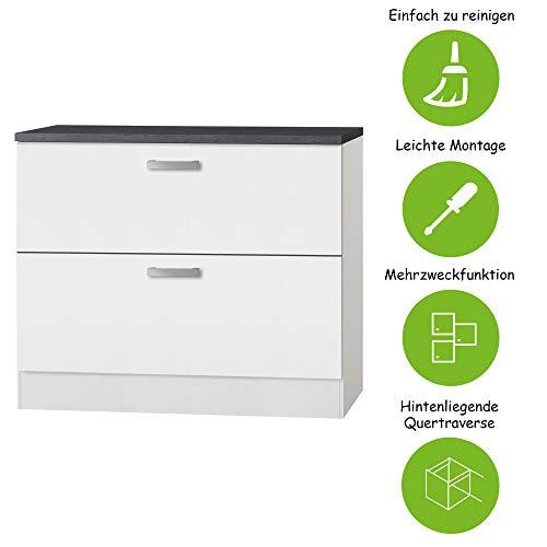MMR Auszug-Unterschrank Küche DALLAS, für Töpfe und Vorratsdosen, 2 Auszüge, 100 cm breit, Weiß