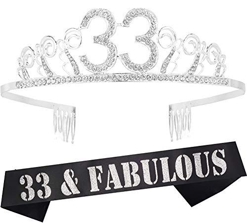 33rd Birthday Gifts for Woman, 33rd Birthday Tiara and Sash, HAPPY 33rd Birthday Party Supplies, 33 & Fabulous Glitter Satin Sash and Tiara Birthday Crown for 33rd Birthday Party Supply