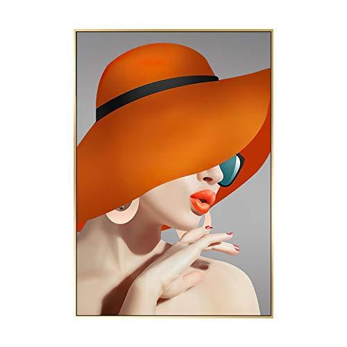 Nativeemie Mujer Sexy Moderna con Labios Rojos Arte de la Pared Pintura en Lienzo Póster e impresión Habitación Estética Habitación de niña Decoración para el hogar 70x100cm / 27.6'x39.4 sin Marco