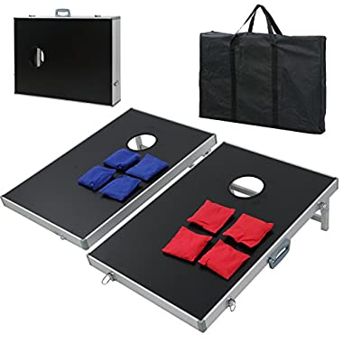 ZENY Portable 3' x 2' Cornhole Game Set, Superior Collapsible Aluminum Alloy Frame MDF Cornhole Board w/ 8 Bean Bags and Carrying Case for Tailgate Party Backyard BBQ Game