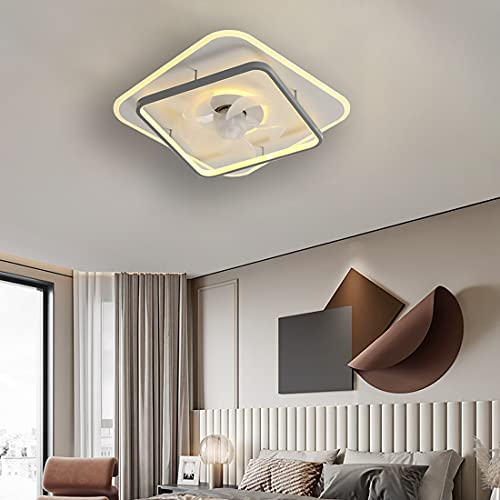 YUNLONG Dormitorio Ventilador Techo con Luz Led Silencioso, Moderno Regulable Lamparas Ventilador De Techo con Mando Distancia 60W 3 Velocidades Invisible Ventilador Techo Sala