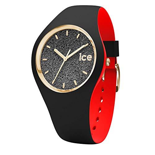 ICE-WATCH - Ice Loulou Black Glitter, Reloj Negro para Mujer con Correa de Silicona