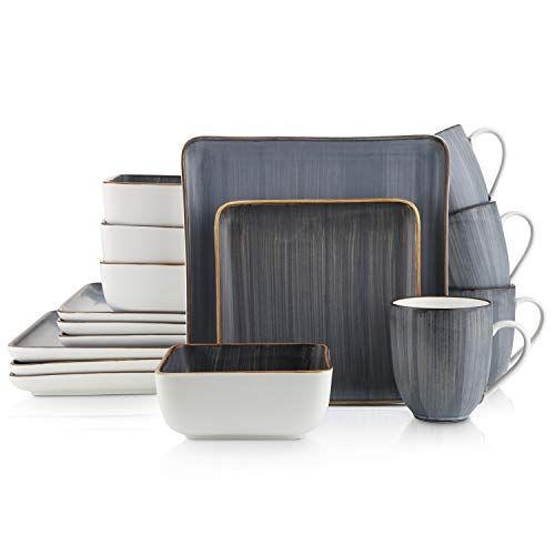 Stone Lain Brushed Square Porcelain Dinnerware Set, Service For 4, Gray