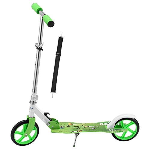 ArtSport Scooter Cityroller Soccer Jungen Big Wheel 205mm Räder klappbar höhenverstellbar – Kinder-Roller ab 3 Jahre - Tretroller bis 100kg – grün