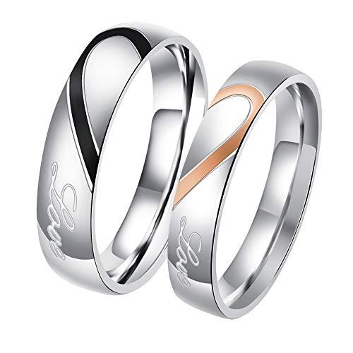 DOLOVE 1 Paar Edelstahlring Verlobungsring Herren und Damen Partner Ringe Herz Damen Größe 57 (18.1) & Herren Größe 57 (18.1)