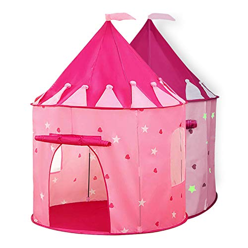 Sanobear Girls Play Tent Toy with Glow in the Dark Stars Kids Princess Castle Playhouse Birthday Gift for Children Toddlers Indoor and Outdoor Games with Carry Case(Pink)