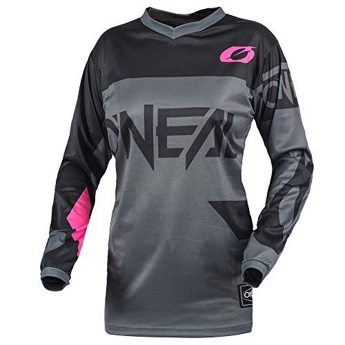 O\'NEAL | Motocross-Shirt Langarm | MTB MX Mountainbike | Gepolsterter Ellbogenschutz, Atmungsaktiv, V-Ausschnitt | Women\'s Jersey Element Racewear | Frauen | Erwachsene | Grau Pink | Größe M