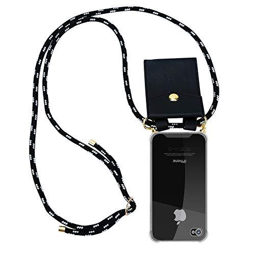Cadorabo Handy Kette für Apple iPhone 4 / iPhone 4S in SCHWARZ Silber – Silikon Necklace Umhänge Hülle mit Gold Ringen, Kordel Band Schnur und abnehmbarem Etui – Schutzhülle