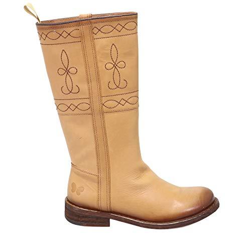 Felmini - Damen Schuhe - Verlieben GREDO C198 - Cowboy & Biker Stiefel - Echtes Leder - Braun - 38 EU Size