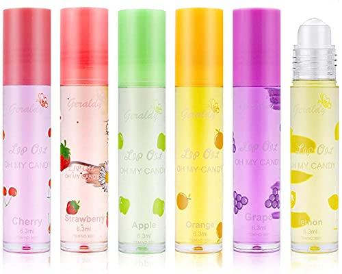 bluesa 6 Pieces,lucidalabbra Trasparente,lucidalabbra Bambina Frutta,Olio per Le Labbra Carino,balsamo Labbra,Kiss Fruit Flavored Lip Gloss Six Flavours,per La Pelle Secca, Anche Sensibile